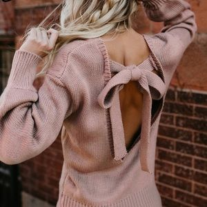 Sweaters - 🍁Camryn • Sexy Open Tie Back Sweater • Blush 🍁
